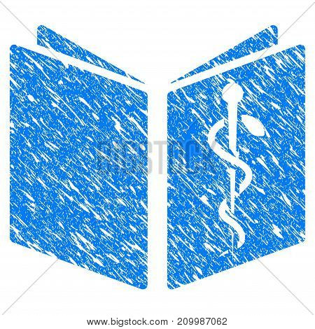 Grunge Healthcare Book icon with scratched design and scratched texture. Unclean vector blue Healthcare Book pictogram for rubber seal stamp imitations and watermarks. Draft sign symbol.
