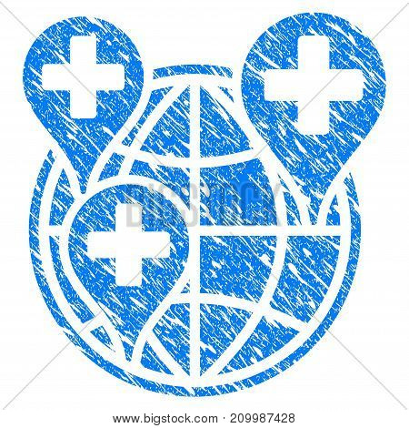 Grunge Hospital Global Network Markers icon with scratched design and dust texture. Unclean vector blue Hospital Global Network Markers pictogram for rubber seal stamp imitations and watermarks.