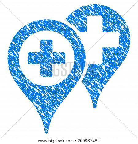 Grunge Hospital Locations icon with scratched design and dirty texture. Unclean vector blue Hospital Locations pictogram for rubber seal stamp imitations and watermarks. Draft sign symbol.