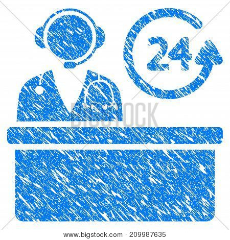 Grunge Hospital Reception Desk icon with scratched design and scratched texture. Unclean vector blue Hospital Reception Desk pictogram for rubber seal stamp imitations and watermarks.