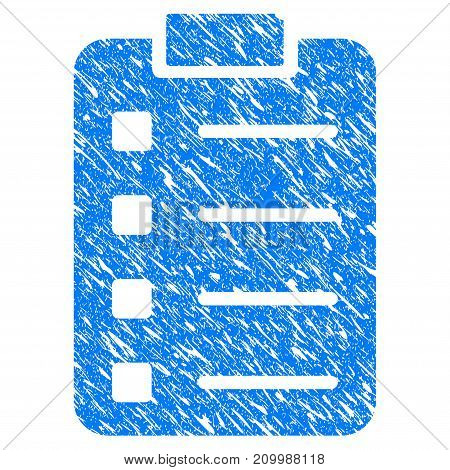 Grunge List Pad icon with scratched design and grungy texture. Unclean vector blue List Pad pictogram for rubber seal stamp imitations and watermarks. Draft sign symbol.