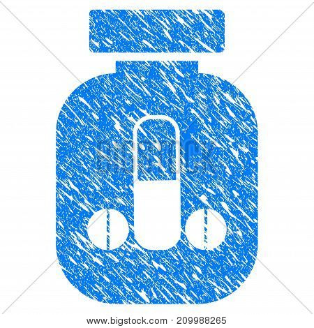 Grunge Male Power Vial icon with scratched design and scratched texture. Unclean vector blue Male Power Vial pictogram for rubber seal stamp imitations and watermarks. Draft emblem symbol.