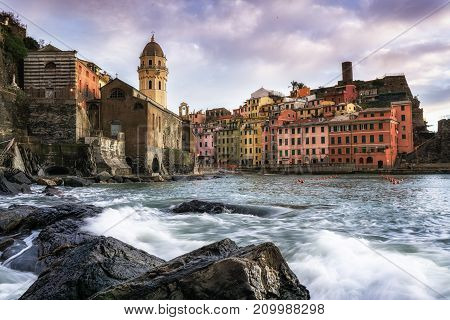 Vernazza Waves In Italy