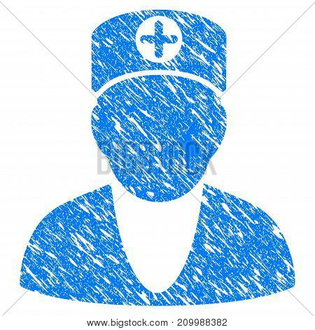 Grunge Medic icon with scratched design and grungy texture. Unclean vector blue Medic pictogram for rubber seal stamp imitations and watermarks. Draft sticker symbol.