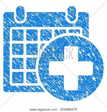 Grunge Medical Appointment icon with scratched design and dirty texture. Unclean vector blue Medical Appointment pictogram for rubber seal stamp imitations and watermarks. Draft sign symbol.