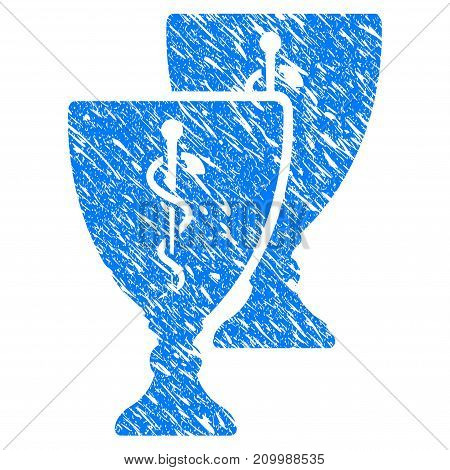 Grunge Medical Award Cups icon with scratched design and dust texture. Unclean vector blue Medical Award Cups pictogram for rubber seal stamp imitations and watermarks. Draft sign symbol.