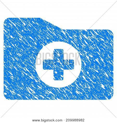 Grunge Medical Folder icon with scratched design and grungy texture. Unclean vector blue Medical Folder pictogram for rubber seal stamp imitations and watermarks. Draft emblem symbol.