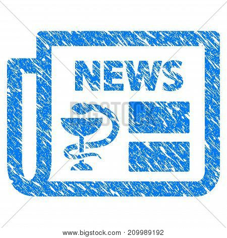Grunge Medical Newspaper icon with scratched design and unclean texture. Unclean vector blue Medical Newspaper pictogram for rubber seal stamp imitations and watermarks. Draft sticker symbol.