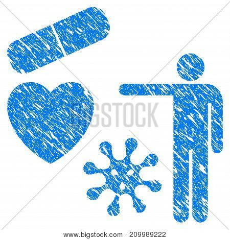 Grunge Medical Objects Presentation icon with scratched design and dust texture. Unclean vector blue Medical Objects Presentation pictogram for rubber seal stamp imitations and watermarks.