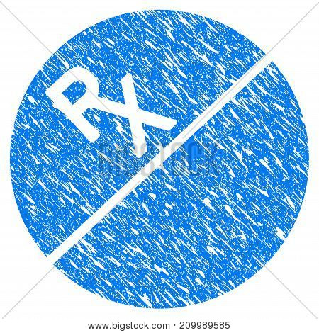 Grunge Medication Tablet icon with scratched design and dust texture. Unclean vector blue Medication Tablet pictogram for rubber seal stamp imitations and watermarks. Draft sign symbol.
