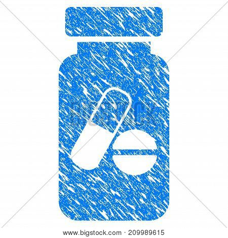 Grunge Medication Vial icon with scratched design and unclean texture. Unclean vector blue Medication Vial pictogram for rubber seal stamp imitations and watermarks. Draft emblem symbol.