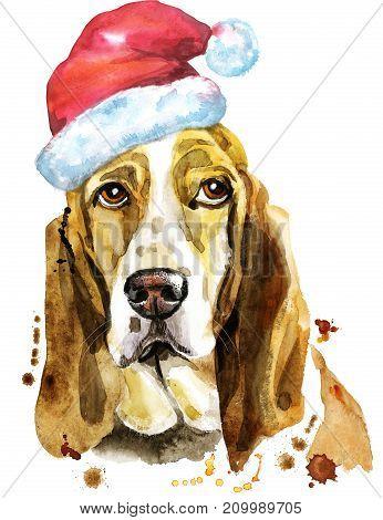 Cute Dog. Dog T-shirt graphics. watercolor basset hound with Santa hat