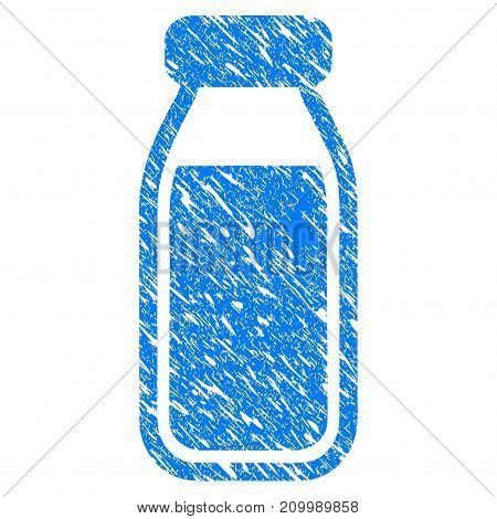 Grunge Milk Bottle icon with scratched design and grungy texture. Unclean vector blue Milk Bottle pictogram for rubber seal stamp imitations and watermarks. Draft sign symbol.