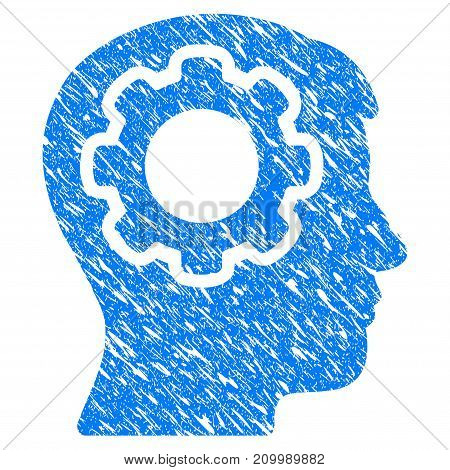 Grunge Mind Gear icon with scratched design and grungy texture. Unclean vector blue Mind Gear pictogram for rubber seal stamp imitations and watermarks. Draft sticker symbol.