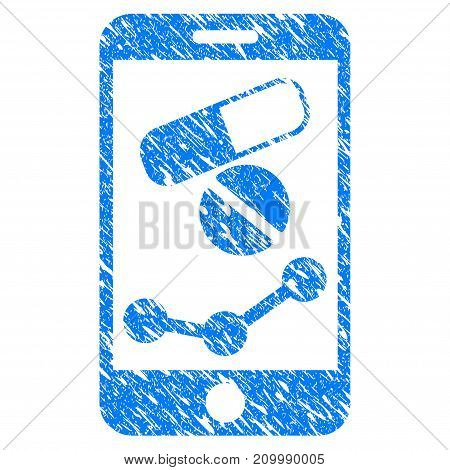 Grunge Mobile Drugstore Chart icon with scratched design and unclean texture. Unclean vector blue Mobile Drugstore Chart pictogram for rubber seal stamp imitations and watermarks.