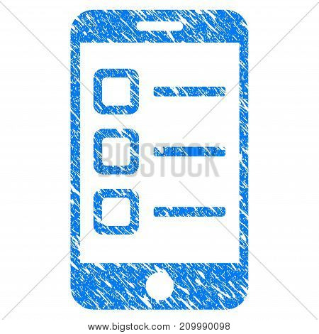 Grunge Mobile List icon with scratched design and scratched texture. Unclean vector blue Mobile List pictogram for rubber seal stamp imitations and watermarks. Draft sticker symbol.