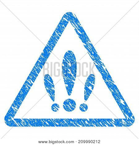 Grunge Multiple Problems icon with scratched design and scratched texture. Unclean vector blue Multiple Problems pictogram for rubber seal stamp imitations and watermarks. Draft sign symbol.
