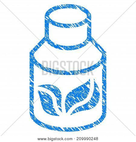 Grunge Natural Drugs icon with scratched design and dirty texture. Unclean vector blue Natural Drugs pictogram for rubber seal stamp imitations and watermarks. Draft emblem symbol.