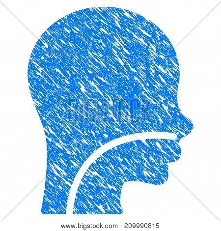 Grunge Patient icon with scratched design and dirty texture. Unclean vector blue Patient pictogram for rubber seal stamp imitations and watermarks. Draft sign symbol.