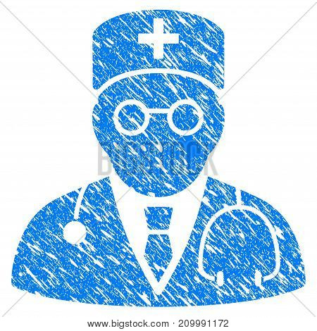 Grunge Physician icon with scratched design and scratched texture. Unclean vector blue Physician pictogram for rubber seal stamp imitations and watermarks. Draft sticker symbol.