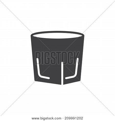Vodka shot glass icon vector, filled flat sign, solid pictogram isolated on white. Symbol, logo illustration.