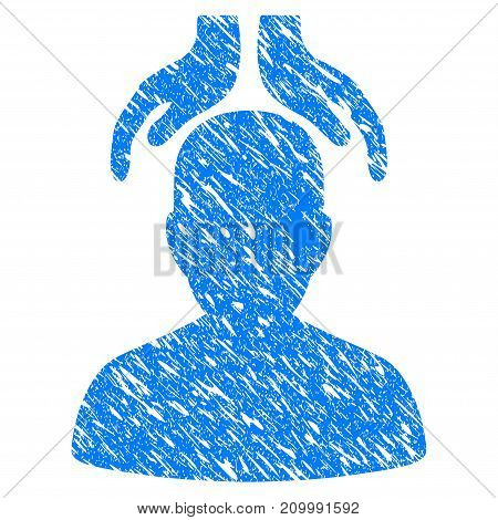 Grunge Psychiatry Hands icon with scratched design and scratched texture. Unclean vector blue Psychiatry Hands pictogram for rubber seal stamp imitations and watermarks. Draft sign symbol.