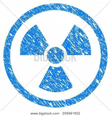 Grunge Radioactive icon with scratched design and unclean texture. Unclean vector blue Radioactive pictogram for rubber seal stamp imitations and watermarks. Draft sticker symbol.