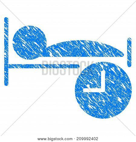 Grunge Sleep Time icon with scratched design and dust texture. Unclean vector blue Sleep Time pictogram for rubber seal stamp imitations and watermarks. Draft sticker symbol.