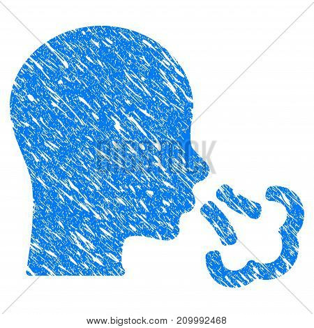 Grunge Sneeze icon with scratched design and unclean texture. Unclean vector blue Sneeze pictogram for rubber seal stamp imitations and watermarks. Draft emblem symbol.