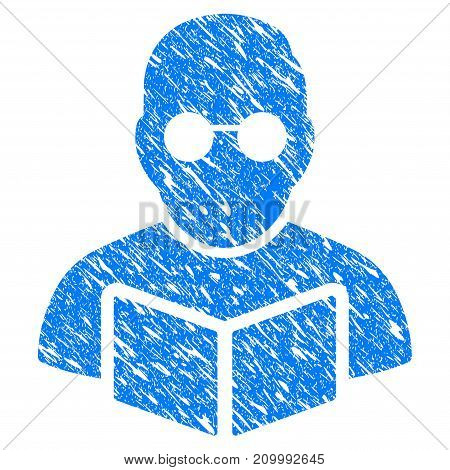Grunge Student Read Book icon with scratched design and grungy texture. Unclean vector blue Student Read Book pictogram for rubber seal stamp imitations and watermarks. Draft sign symbol.