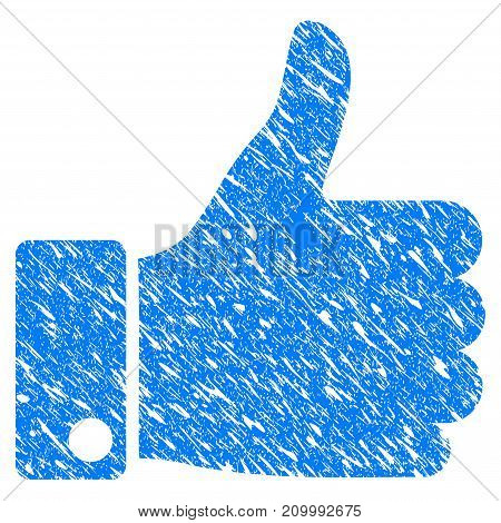 Grunge Success Thumb Up icon with scratched design and dirty texture. Unclean vector blue Success Thumb Up pictogram for rubber seal stamp imitations and watermarks. Draft sticker symbol.