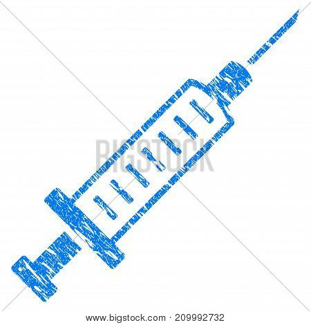 Grunge Syringe icon with scratched design and dust texture. Unclean vector blue Syringe pictogram for rubber seal stamp imitations and watermarks. Draft emblem symbol.