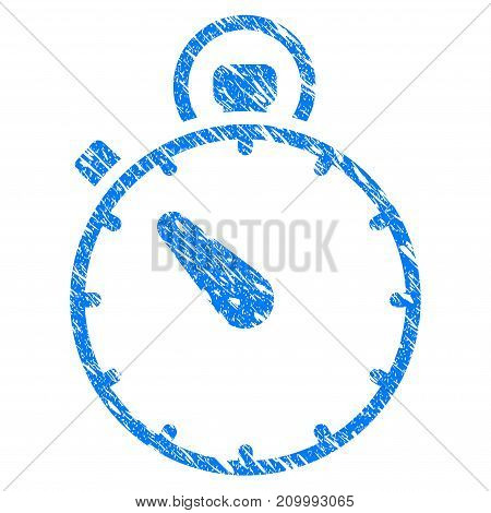 Grunge Timer icon with scratched design and scratched texture. Unclean vector blue Timer pictogram for rubber seal stamp imitations and watermarks. Draft sign symbol.