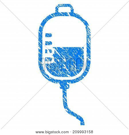 Grunge Treatment Dropper icon with scratched design and dirty texture. Unclean vector blue Treatment Dropper pictogram for rubber seal stamp imitations and watermarks. Draft emblem symbol.