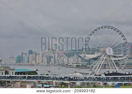 Ferris Wheel In Hong Kong At 2017