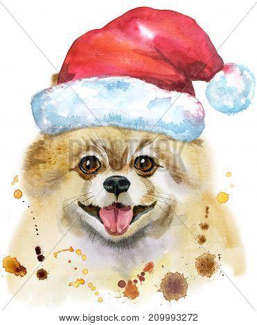Cute Dog. Dog T-shirt graphics. watercolor pomeranian spitz illustration with Santa hat