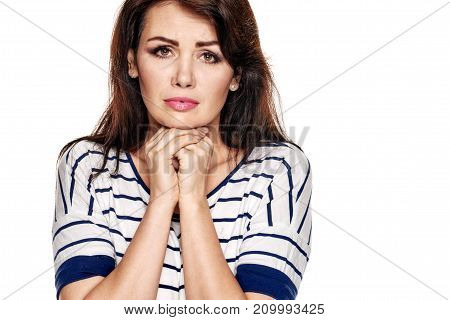 Portrait of young pretty upset woman with bad mood