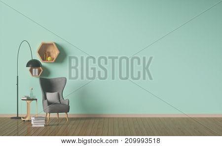 living room designed,Green wall,interior decoration,Shelf hexagonal,3D rendering