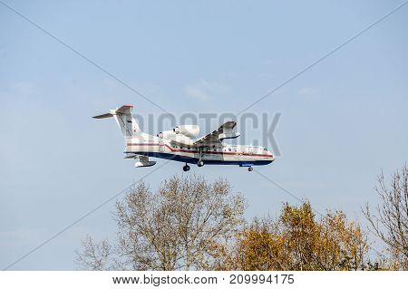 Khabarovsk, Russia - 03.10.2017: Beriev be-200 CHS Plane amphibian of the Ministry of emergency situations of Russia