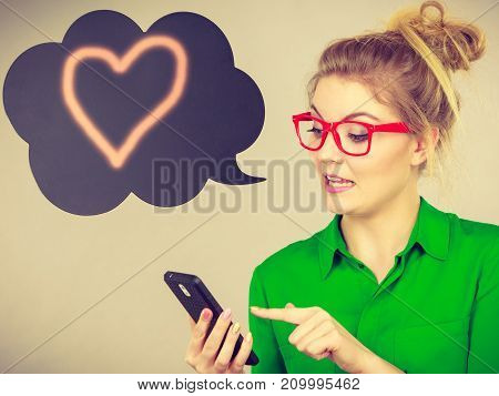 Business Woman Looking At Phone, Thinking Bubble