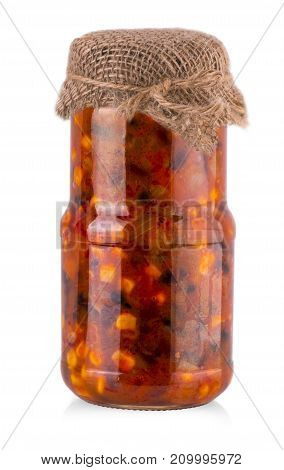 Glass jar of preserved beans with corn on white background