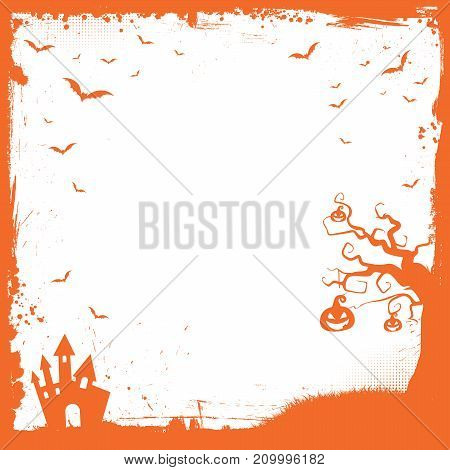 Square Halloween Banner Template With Pumpkin, Scary House, Flying Bat Border