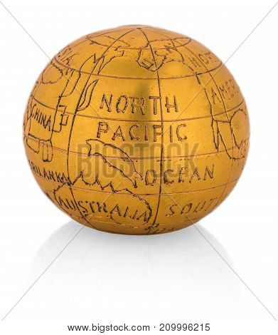 Metal globe isolated on white background .