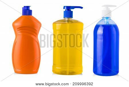 colored plastic bottle with liquid laundry detergent cleaning agent bleach or fabric softener isolated on white background