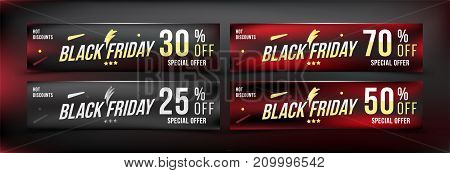 Black Friday 25 - 70 Off Discount. Set Banners In Horizontal Format. Special Offer, Template For Pri