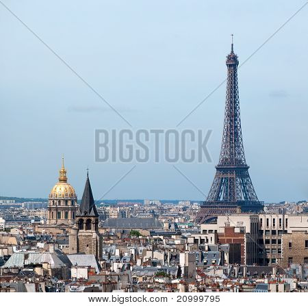 Panorama of Paris from Notre Dame. Eiffel tower and Hotel des Invalides in the background. France poster