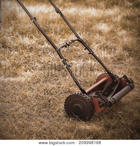 Low section of a man with lawnmower on grassy field in yard
