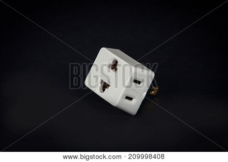Three Way Plug  For Home Electric On Background