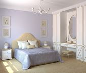 Modern bedroom interior with violet walls. 3d render. poster