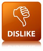 Dislike isolated on brown square button reflected abstract illustration poster